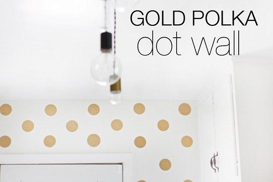 DIY Gold Polka Dot Wall 1