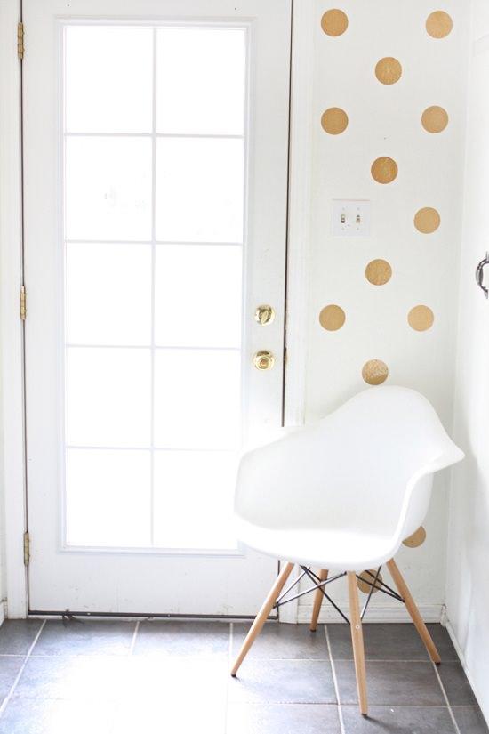 DIY Gold Polka Dot Wall 2
