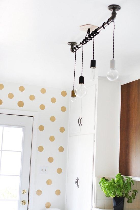 DIY Gold Polka Dot Wall 3