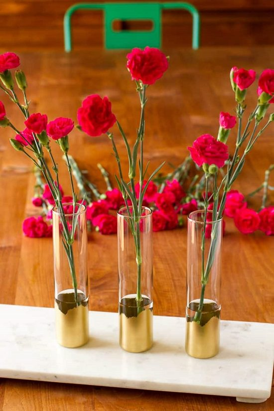 DIY Gold Painted Vases 10
