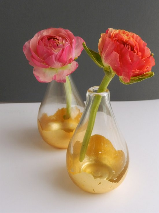 DIY Gold Painted Vases 14