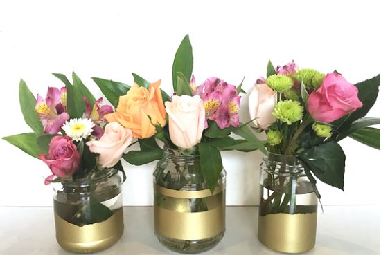 DIY Gold Painted Vases 3