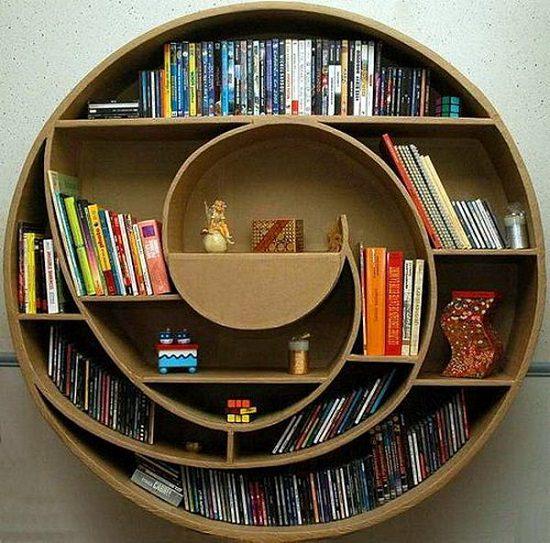 Circular Cardboard Shadowbox DVDs Organizer