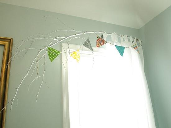 DIY Curtain Rod Ideas - Tree Branch