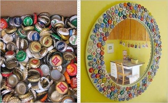 Bottle Cap Mirror Art