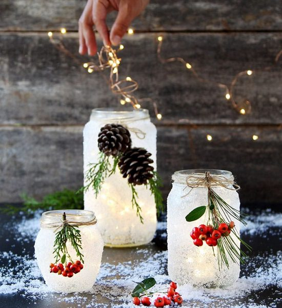 Snow Frosted Winter Candle Holder