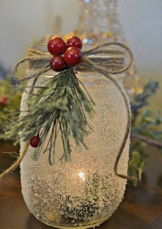 Snow Covered Candle Holder
