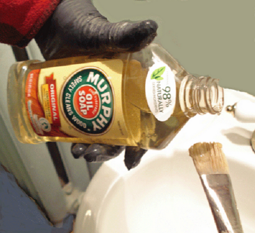 Cleaning Paint Brushes with Murphy's Oil Soap