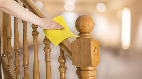 Cleans Grimy Wooden Banisters