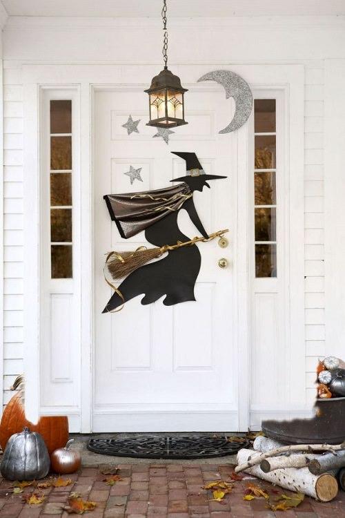 Glittering Halloween Witch Door Decor