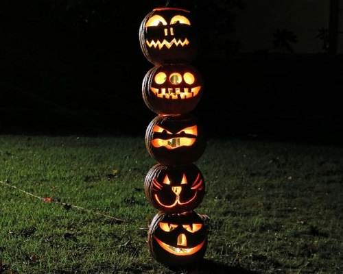 Halloween Pumpkin Totem Pole