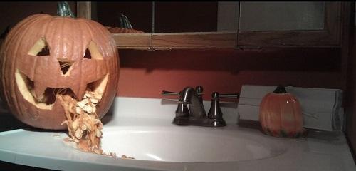 Jack O Lantern throwing Up in Bathroom