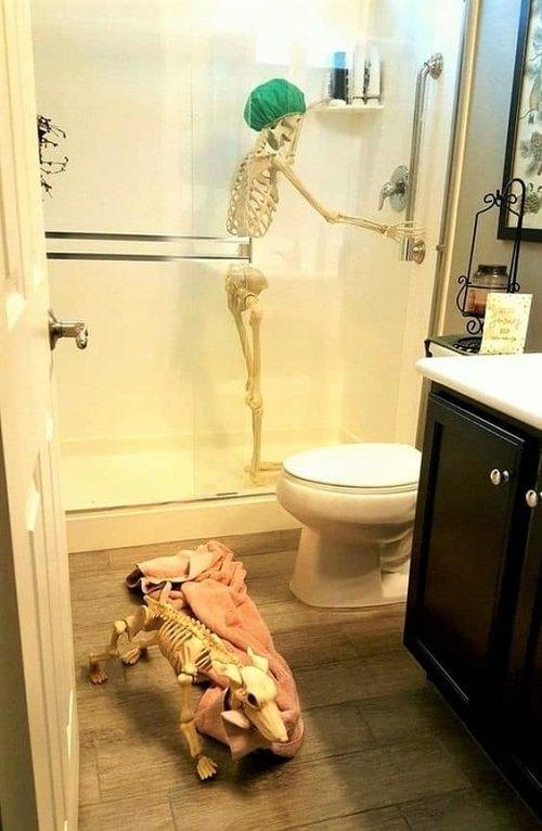 Skeleton Standing Under the Shower