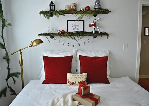 Red & Green Holiday Bedroom Decor