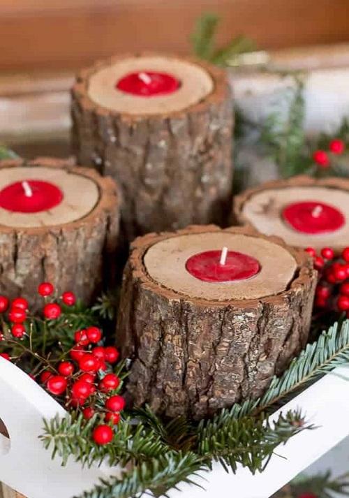 Rustic Wood Festive Candleholders