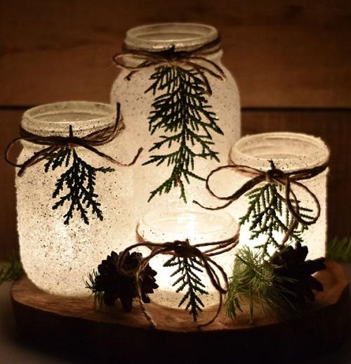 Snowy Mason Jar Luminaries