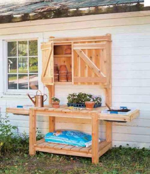 Barn Door Cabinet Potting Bench