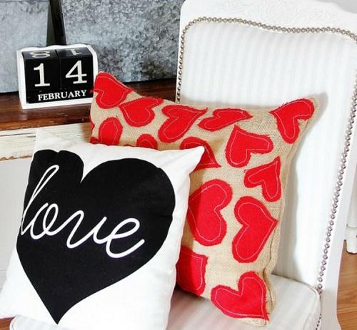 Burlap Valentine Heart Pillow