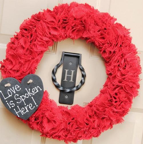 Burlap Wreath with Chalkboard Heart