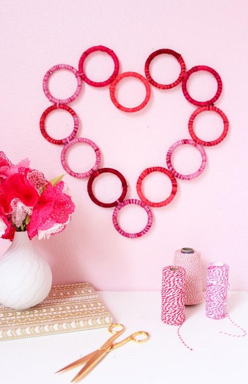 Yarn Wrapped Heart Wreath