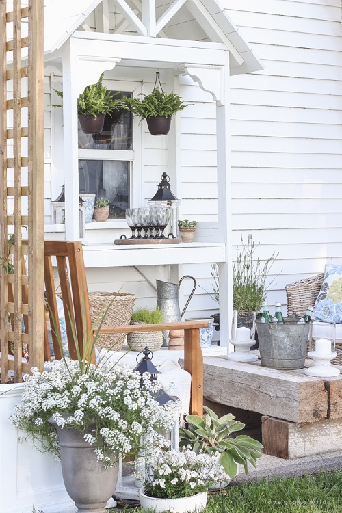 Potting Bench With Decorative Roof