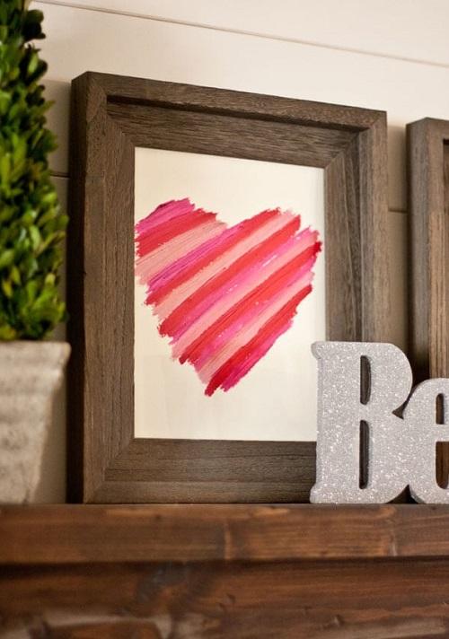 Rustic Framed Lipstick Heart