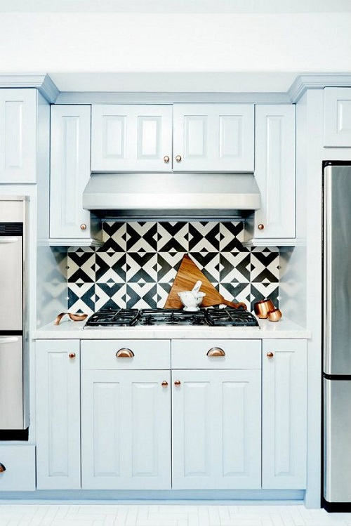 Baby Blue Kitchen Cabinets with Brass Hardware