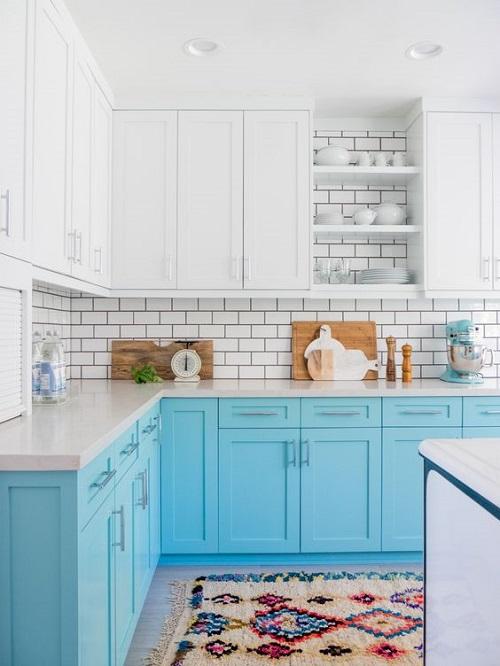 Beachy Blue Kitchen Cabinets