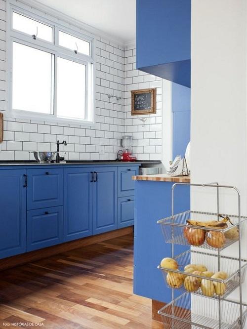 Bold Blue Kitchen Cabinet