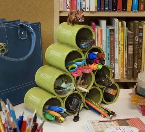 DIY Empty Tin Can Organizer