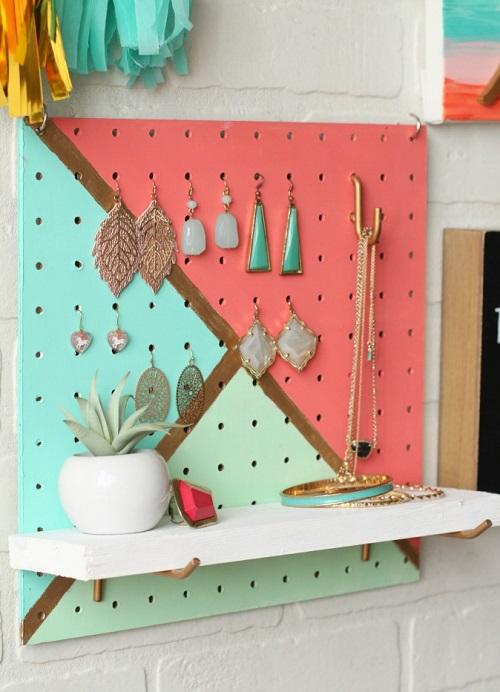 DIY Painted Pegboard Jewelry Organizer