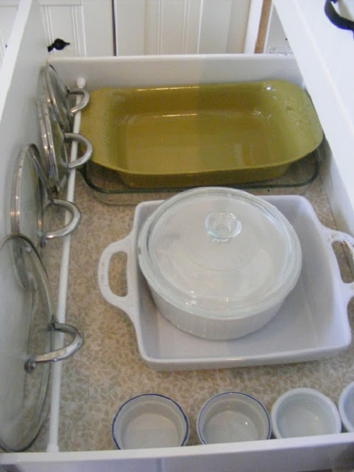 Organize Pot Lids With a Tension Rod