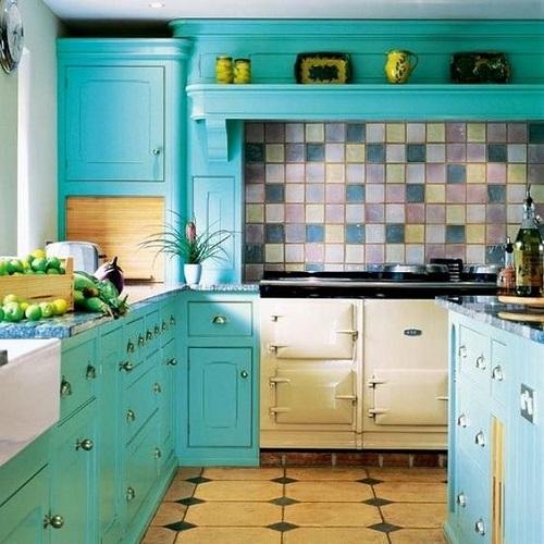 Retro Ocean Blue Kitchen Cabinets