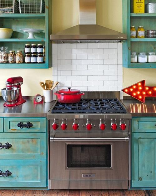 Vintage Turquoise Kitchen Cabinets